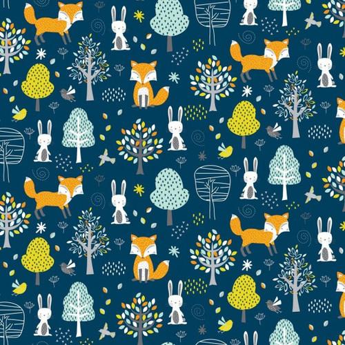 Woodland Friends Fox, Rabbit & Forest Blue 100% Cotton (Woodland Friends)