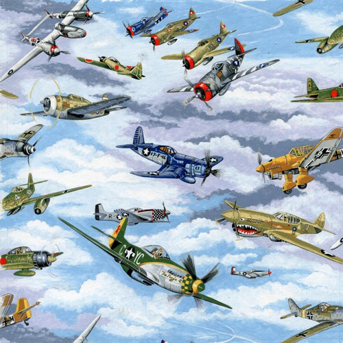 Sky & Vintage Plane Warbirds 100% Cotton 112cm Wide (Warbirds)