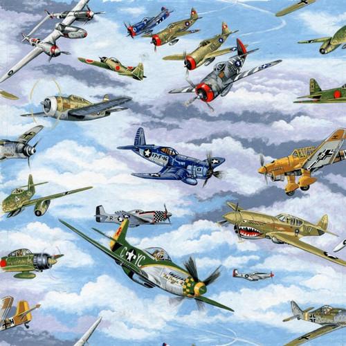Sky & Vintage Plane Warbirds 100% Cotton (Warbirds)