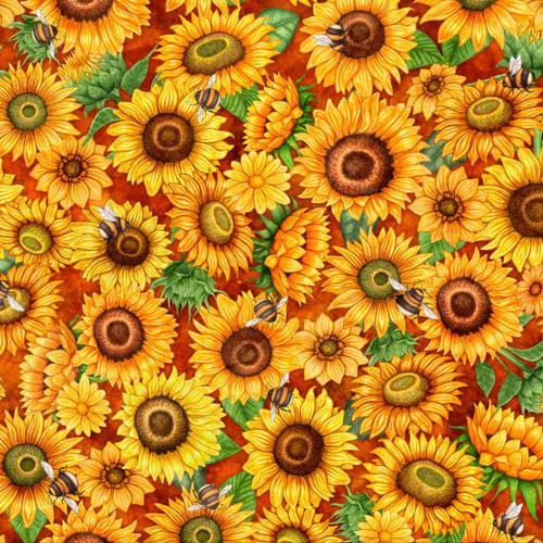 Quilting Treasures Always Face Sunshine Packed Sunflowers &  Bees Rust 100% Cotton Remnant (41 x 110cm QT Always Face 6)