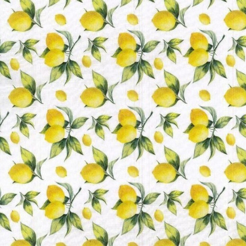 Lemons & Leaves White 100% Cotton (Lemon Tree)
