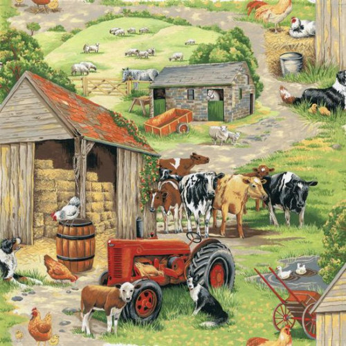 Farmyard Animals & Tractor Scene 100% Cotton (In The Country - Farmyard Fun)