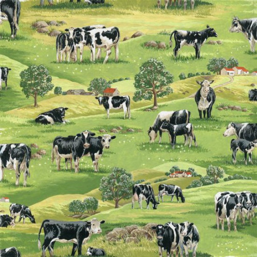 Cows & Field Scenic Green 100% Cotton (In The Country - Field Cows)