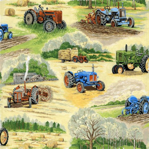 Tractors & Field Scenic 100% Cotton (In The Country - Tractors)