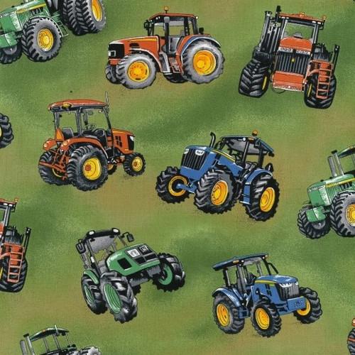 Multicoloured Tractors Green 100% Cotton (Tractor Time)