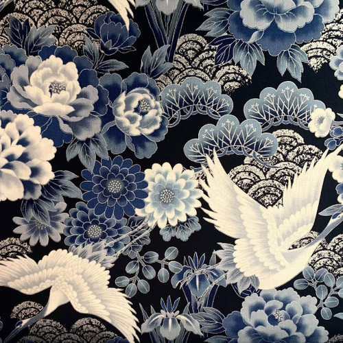Metallic Accent Crane Birds Blue Japanese 100% Cotton (Japanese Crane - Blue)
