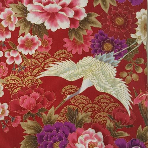 Metallic Accent Crane Birds Red Japanese 100% Cotton (Japanese Crane - Red)