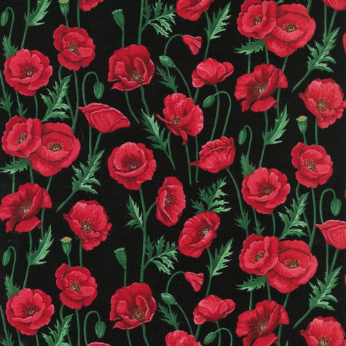 Red Poppies On Black 100% Cotton (Poppy Blossom - Black)
