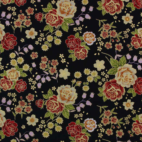 Japanese Metallic Floral Black 100% Cotton (Japanese Floral - Black)