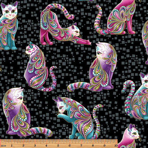 Benartex Cat-I-tude Black Artist-O-Cats Metallic 100% Cotton (Benartex Black Cats)