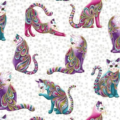 Benartex Cat-I-tude White Artist-O-Cats Metallic 100% Cotton (Benartex White Cats)