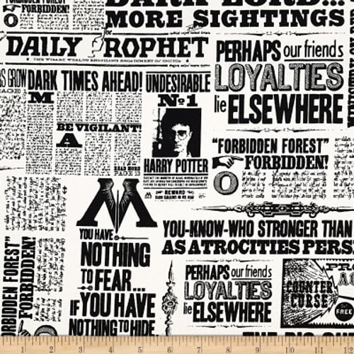 Harry Potter Newsprint White 100% Cotton (Harry Potter 9)