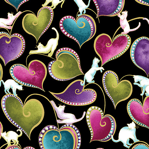 Benartex Cat-I-tude Hearts & Cats Metallic Black 100% Cotton (Benartex Hearts & Cats - Black)
