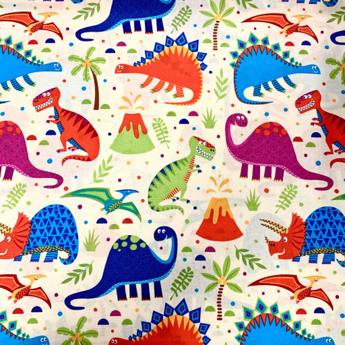 Bright & Happy Dinosaurs Cream 100% Cotton (Dino Land - Cream)