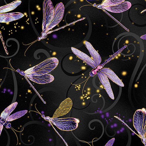 Kanvas Studio Dragonfly Dance Metallic Gold Black 100% Cotton (KS Dragonfly Dance - Black)