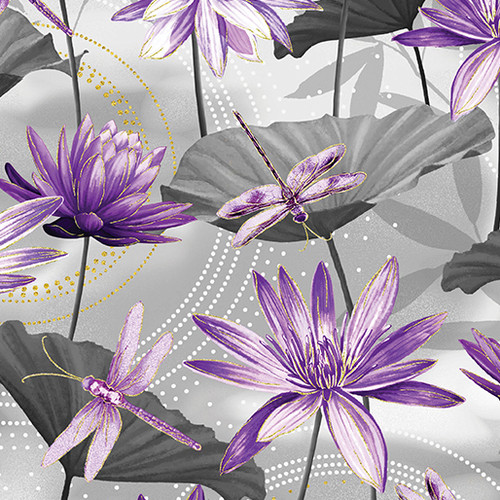 Kanvas Studio Dragonfly Dance Waterlily Grey 100% Cotton (KS Studio Dragonfly Dance Waterlily - Grey)