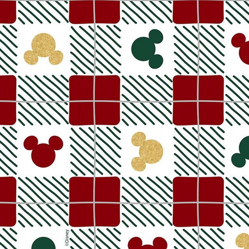 Disney Christmas Check Mickey Heads Multicolored 100% Cotton (Mickey Check)