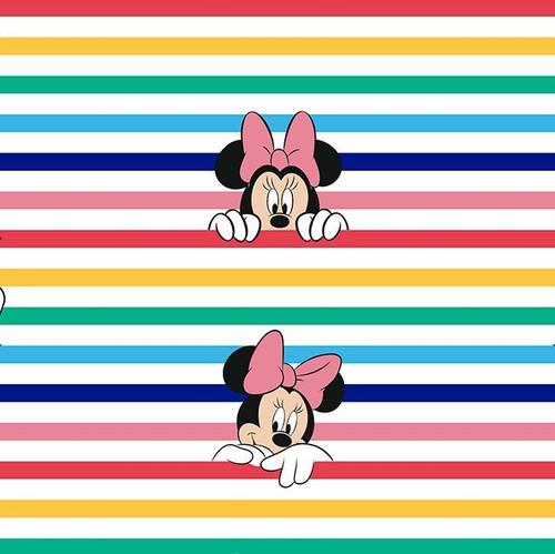 Disney Rainbow Minnie Mouse Striped 100% Cotton (Disney Rainbow Stripe Minnie)