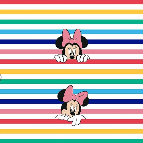 Disney Rainbow Minnie Mouse Striped 100% Cotton (Disney Rainbow Stripe Minnie)