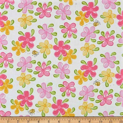 The World Of Susybee Flowers & Bees White 100% Cotton (Susybee 7)