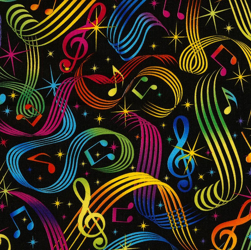 Timeless Treasures Bright Music Notes Multicoloured 100% Cotton (TT Bright Music Notes)