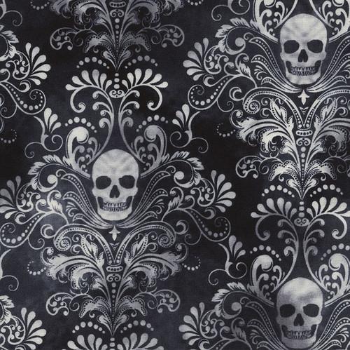 Timeless Treasures Wicked Fog Skulls Damask 100% Cotton (TT Wicked Fog Skulls Damask)