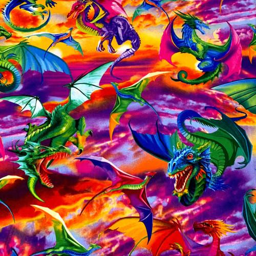 Timeless Treasures Dragons Multicoloured Dragons 100% Cotton (TT Dragons)