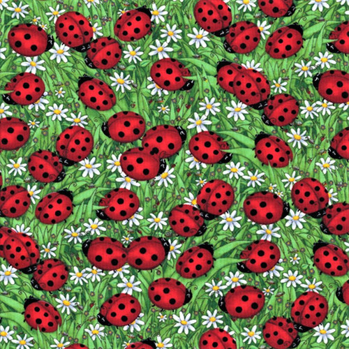 Timeless Treasures Ladybugs Green 100% Cotton (TT Ladybugs Green)