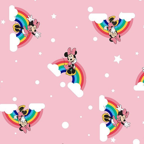 Disney Minnie Mouse, Clouds & Rainbows Pink 100% Cotton (Disney Over the Rainbow Minnie)
