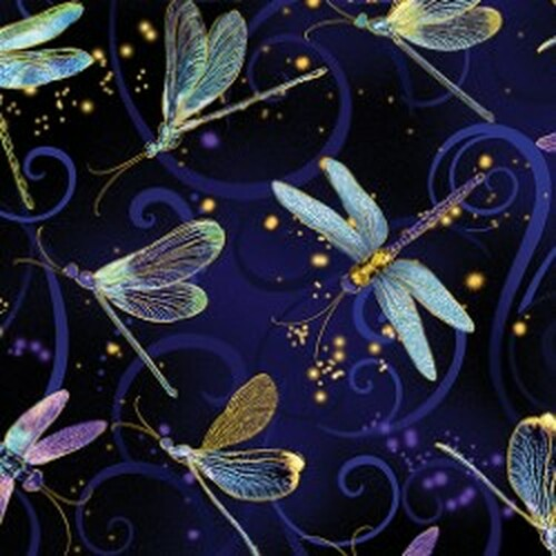 Kanvas Studio Dragonfly Dance Metallic Gold Navy and Black 100% Cotton (KS Dragonfly Dance 17)