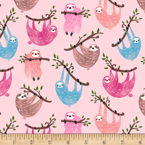 Timeless Treasures Sloths Pink 100% Cotton (TT Sloths)