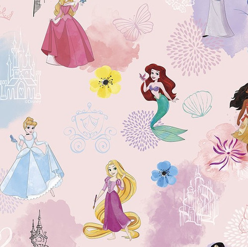Disney Princesses Pink 100% Cotton (Disney Princess Pastel Pink)