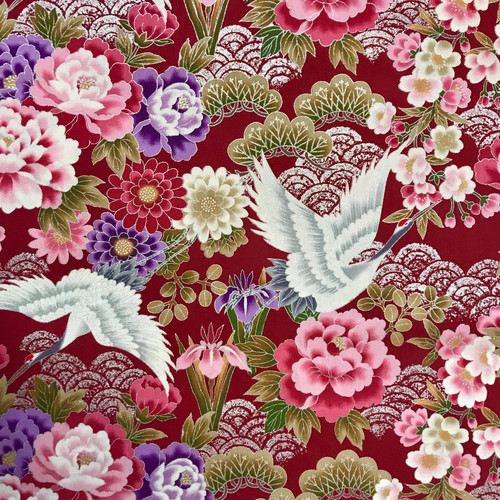 Japanese Silver Cranes Red 100% Metallic Cotton (Japanese Silver Cranes 2)