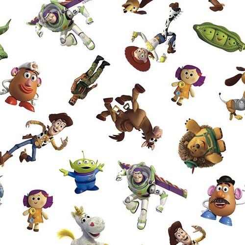 Disney Toy Story Characters White 100% Cotton (Toy Story Characters White)