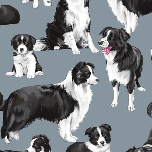 Timeless Treasures Dog Border Collies Grey 100% Cotton (TT Border Collies)