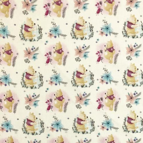 Disney Winnie The Pooh & Piglet Floral 100% Cotton (Winnie 24)