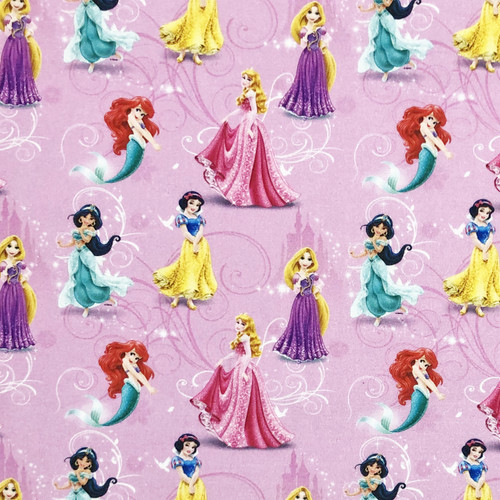 Disney Princess Snow White, Rapunzel, Aurora, Jasmine & Ariel Dark Pink 100% Cotton (Disney Princesses 17)