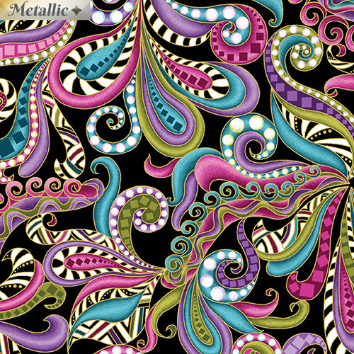 Benartex Metallic Multicoloured Swirls Black 100% Cotton (Benartex Dog On It 6)