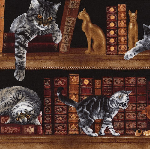 Timeless Treasures Cats On The Bookshelf 100% Cotton (TT Cats On The Bookshelf)