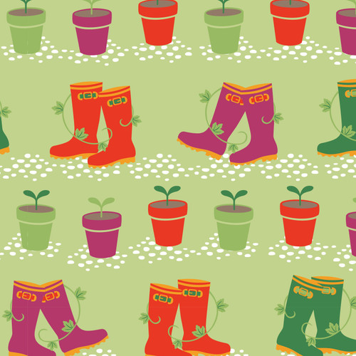 Pots & Wellies Gardening 100% Cotton (Vegetable Patch 2)
