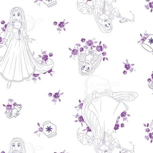 Disney Princess Tangled Rapunzel Sketch Purple & White 100% Cotton (Tangled 5)