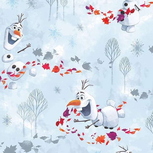 Disney Frozen Olaf Playing Light Blue 100% Cotton (Disney Frozen 15)