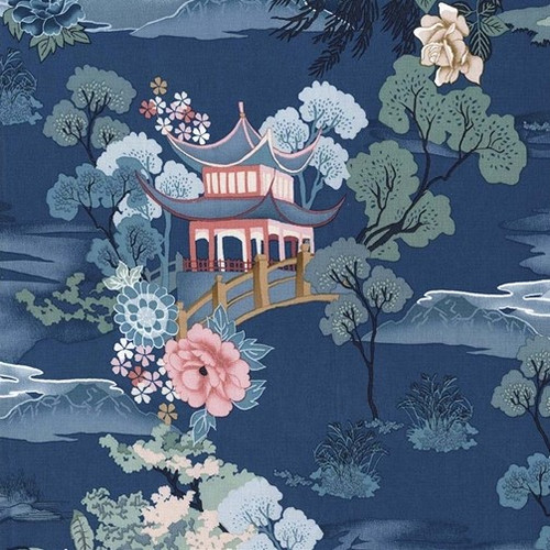 Michael Miller's Floral & Oriental Scene on Teal 100% Cotton (MM Pagoda Dreams 3)