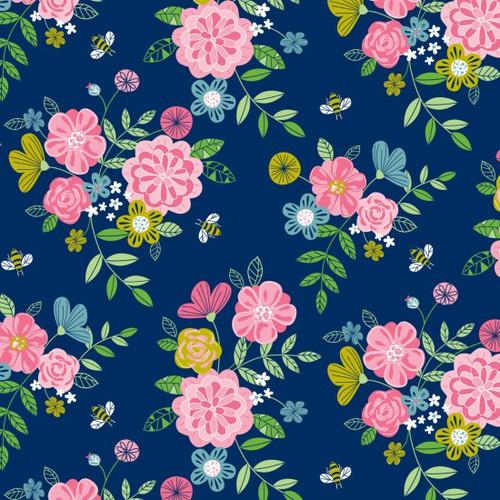 Pretty Flowers & Bees Navy 100% Cotton (Wildflower Honey Navy)