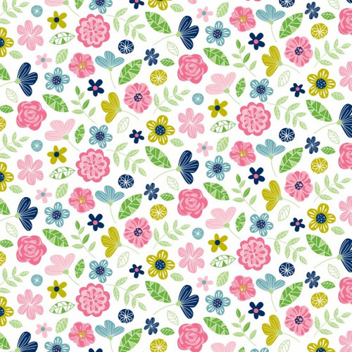Pretty Flowers On White 100% Cotton (Wildflower Honey White)