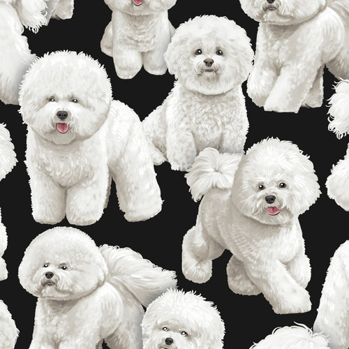 Timeless Treasures Bichon Frise Dog Black 100% Cotton (TT Bichon Frise)