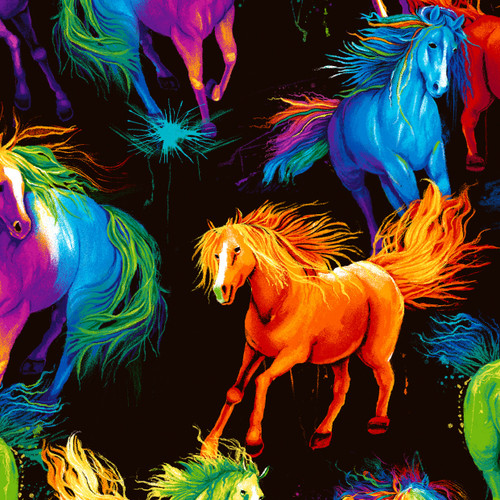 Timeless Treasures Multicoloured Electric Horses Black 100% Cotton (TT Electric Horses)