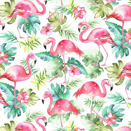 Timeless Treasures Rainforest Flamingos With Tropical Leaves 100% Cotton (TT Rainforest Flamingos)
