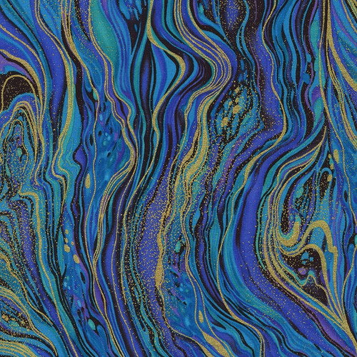 Timeless Treasures Palazzo Metallic Abstract Marbling Peacock 100% Cotton (TT Peacock Marbling)
