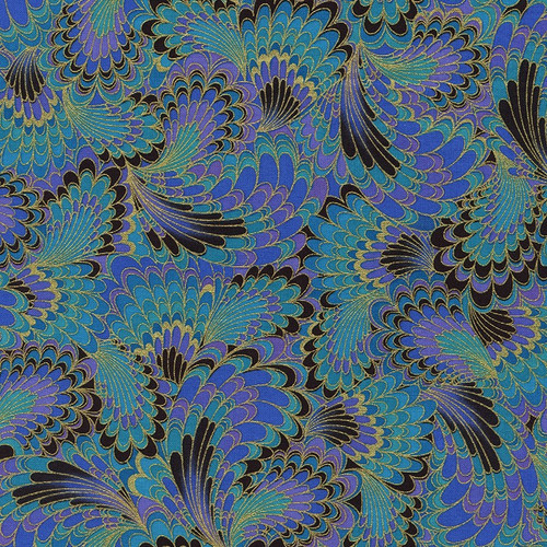 Timeless Treasures Palazzo Metallic Abstract Peacock Wings 100% Cotton (TT Peacock Wings)